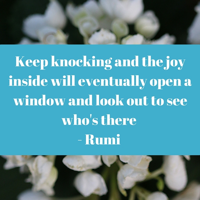 Keep knocking and the joy inside will eventually open a window and look out to see who's there - Rumi